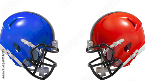 Athletic rivalry, sports encounter or red vs blue concept with two american foot Canvas Print