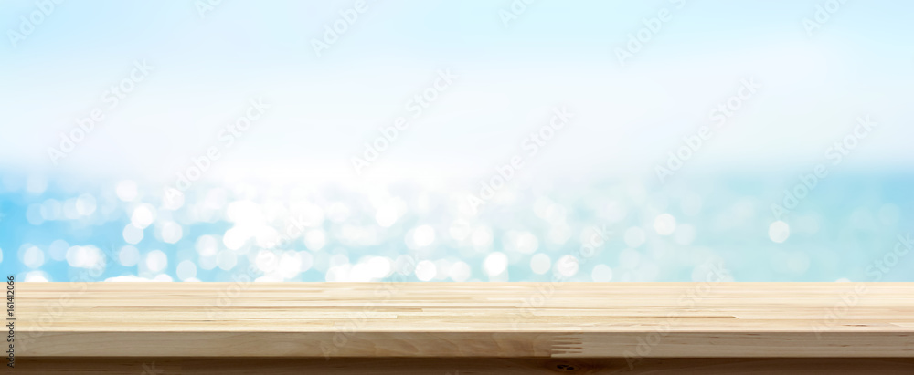 Fototapety, obrazy: Wood table top on blue summer sparking sea water bokeh banner background