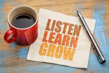 Listen, Learn, Grow Word Abstr...