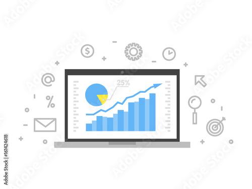Fotografie, Obraz  Online analytics concept line illustration