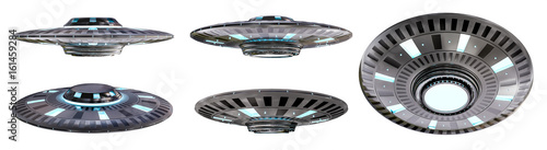 Billede på lærred Vintage UFO collection isolated on white background 3D rendering