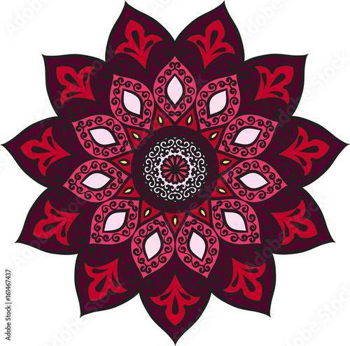 abstrakcyjny-bordowy-kwiat-mandali-na-bialym-tle