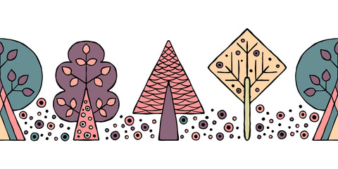FototapetaVector hand drawn seamless pattern, border. Decorative stylized childish trees Doodle style, tribal graphic illustration Ornamental cute hand drawing Series of doodle, cartoon sketch seamless patterns