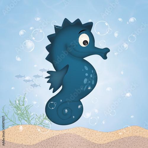 Keuken foto achterwand Draw seahorse cartoon to the sea