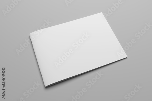 Poster Blanc Blank 3D rendering brochure magazine on gray with clipping path No. 8