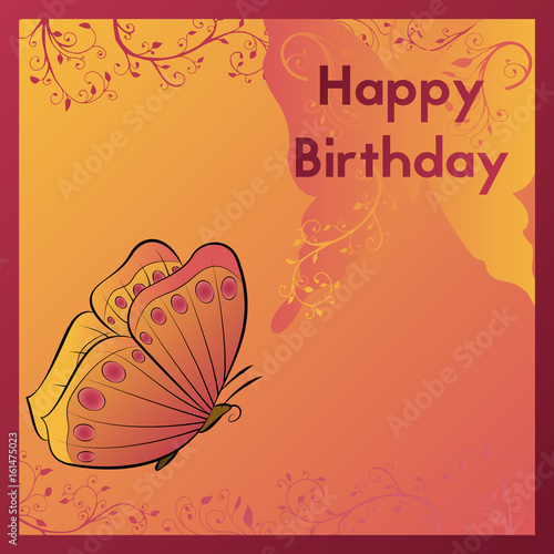 Happy Birthday Greeting Card The Postcard Is Decorated With An Orange Butterfly And Leaves