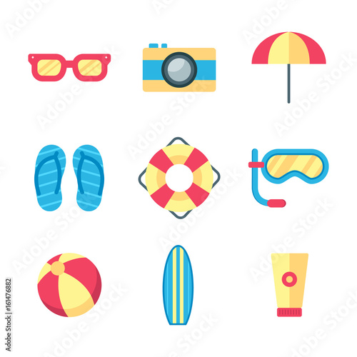 Summer and holiday on beach icon set Poster