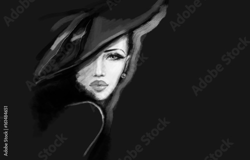 Poster Portrait Aquarelle fashion illustration