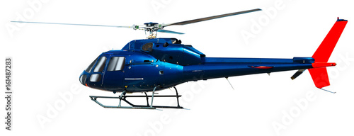Tuinposter Helicopter Helicopter with working propeller, isolated on white