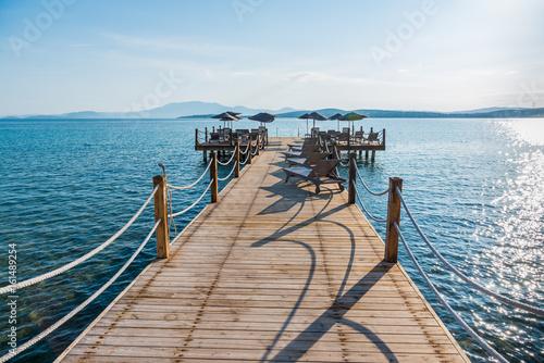 Poster Turquoise Cesme, Turkey - June 17, 2017 : Ilica Beach view in June. Ilica Beach is popular tourist destination in Turkey.