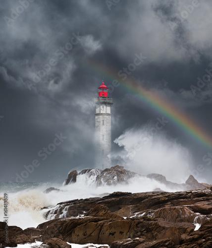 Fotografia, Obraz phare tempête déchaîner mer bretagne orage matin finistère arc en ciel ciel orag