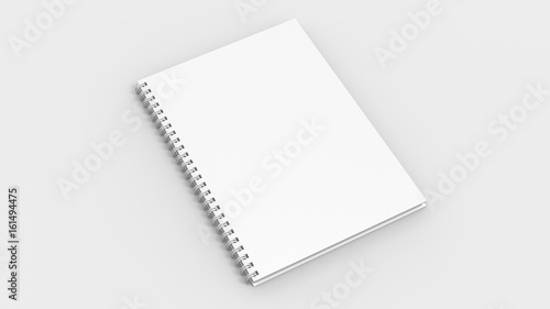 Papiers peints Spirale Spiral binder notebook mock up isolated on soft gray background. 3D illustrating.