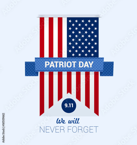 Poster  9.11 Patriot Day with USA flag design template vector