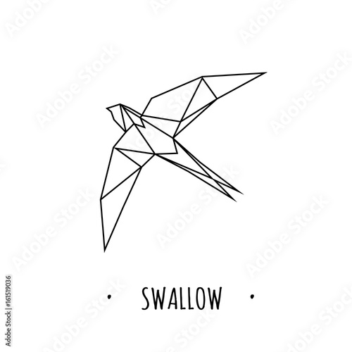 Swallow stylized triangle polygonal model