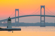 A Sunset Over The Newport Bridge In Newport, Rhode Island