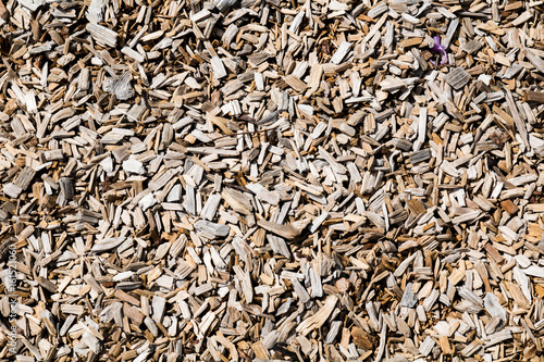 Valokuvatapetti Tan colored natural wood chips for background or graphic texture