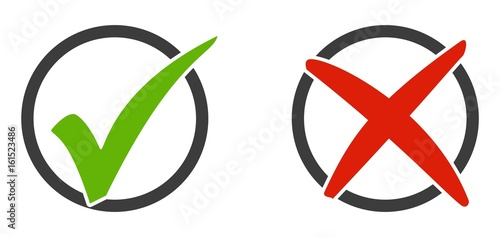 Fotografie, Obraz  2 Icons Häkchen und X im Kreis
