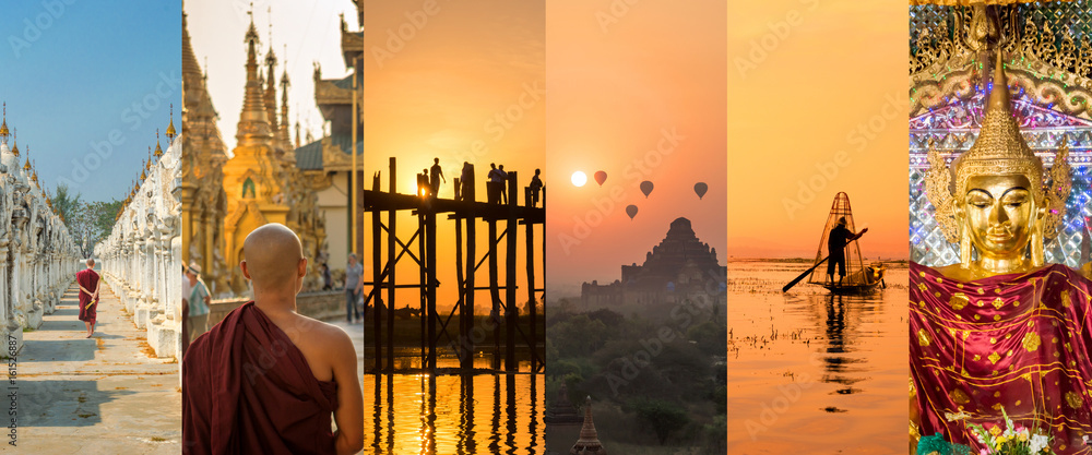 Fototapeta Burma (Myanmar), panoramic photo collage, burmese symbols, Burma travel and tourism concept