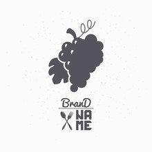 Hand Drawn Silhouette Of Grape Bunch. Liquor Store Logo Template For Craft Food Packaging Or Brand Identity