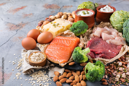 Assortment of healthy protein source and body building food Fototapeta