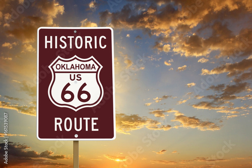 Photo Historic Oklahoma Route 66 Brown Sign with Sunset