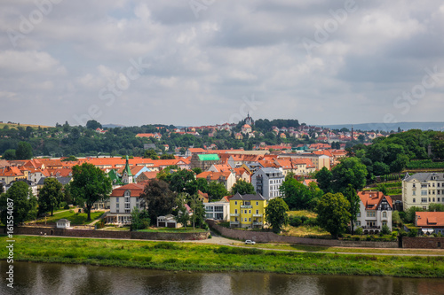 Fototapeta The bridge on river of city Meissen , Germany.. obraz na płótnie
