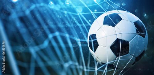 Obraz Soccer ball in goal - fototapety do salonu