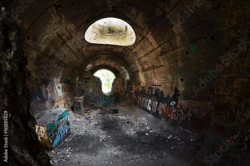 Foto op Plexiglas Tunnel Old tunnel of Stalin. Part of Kiev defense line in WW2 time. today named