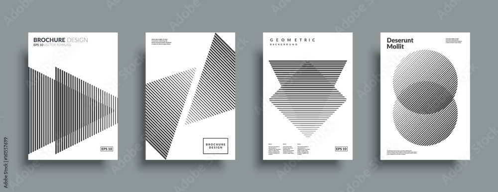 Fototapeta Minimal covers design set. Simple shapes with halftone gradients. Eps10 layered vector.