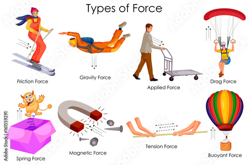 Fotografie, Obraz  Education Chart of Physics for Different Types of Force Diagram