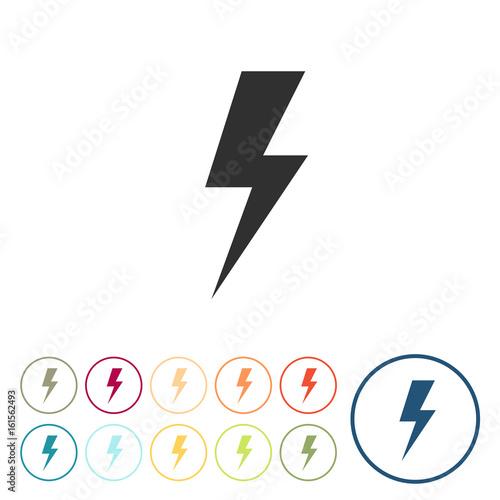 Runde Schaltflächen - Strom - Blitz Poster