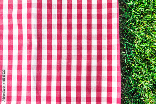 Red gingham tablecloth on green grass with copyspace