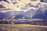 Retro old film stylized photo of High Tatra Mountains, Slovakia. - 161577882