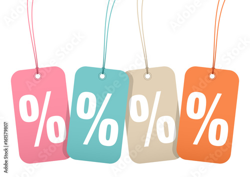 """Fotografie, Obraz  Hangtags """"Sale"""" Percent Retro"""