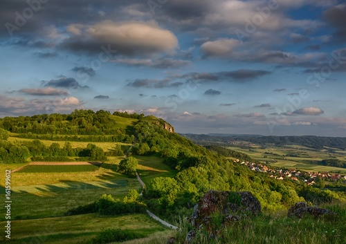 Tuinposter Blauwe jeans Landscape of the famous hill Walberla at the franconian suisse in Bavaria in south Germany