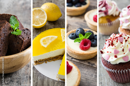 Desserts collage with brownie, lemon pie, tartlets and cupcakes