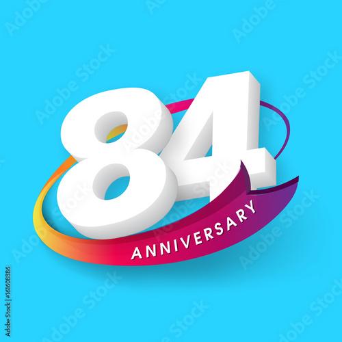 Poster  Anniversary emblems 84 anniversary template design
