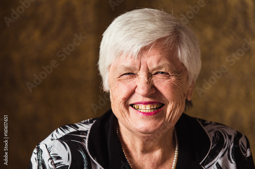 Fotografia, Obraz  Portrait of an old woman who is smiling