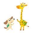 Cute animal student characters, dog and giraffe with backpacks meeting in class, cartoon vector illustration isolated on white background. Little animal student characters, back to school concept