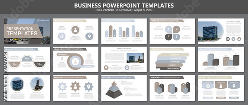 Fotografie, Obraz  Set of brown and gray elements for multipurpose presentation template slides with graphs and charts