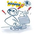 Strichmännchen am Computer als Pisher