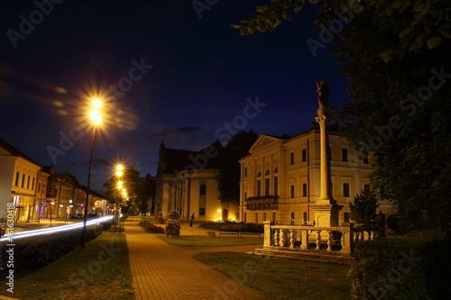 Printed kitchen splashbacks Delhi Square in Spisska Nova Ves at night, Slovakia