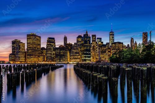 Canvas Prints Sunset at Lower Manhattan Skyline, New York United States