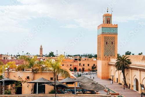 Photo  roof views of marrakech old medina city, morocco
