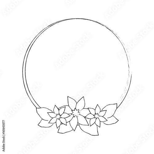 Fototapety, obrazy: decorative frame with beautiful flowers icon over white background vector illustration
