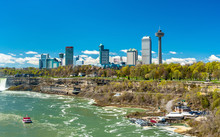 Skyline Of Niagara Falls City In Canada