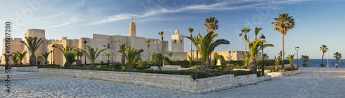 Poster Tunesië panorama with old fort and palm trees with blue sky in Tunisia