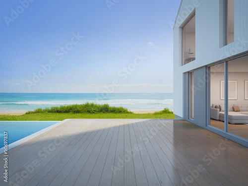 Fotografie, Obraz  Luxury beach house with sea view swimming pool and empty terrace in modern desig