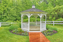 New England Gazebo In The Rain