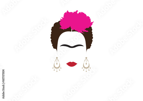 Fotografiet portrait of Mexican or Spanish woman minimalist Frida with earrings and flowers